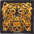 """Luxury Accessories:Accessories, Hermes 140cm Black & Gold """"Le Mors a la Conetable,"""" by Henrid'Origny Silk and Cashmere Scarf. Excellent to PristineCondi..."""
