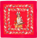 "Luxury Accessories:Accessories, Hermes 140cm Red & Gray ""Pani la Shar Pawnee,"" by Kermit OliverSilk and Cashmere Scarf. Excellent to Pristine Condition..."
