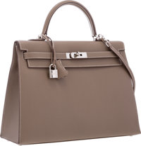 Hermes 35cm Etoupe Epsom Leather Sellier Kelly Bag with Palladium Hardware Excellent Condition 1