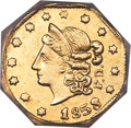 California Fractional Gold , 1853 50C Peacock Reverse 50 Cents, BG-302, Low R.4, MS62 NGC....
