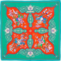 "Luxury Accessories:Accessories, Hermes 140cm Teal & Red ""Poesie Persane,"" by Julia Abadie Silkand Cashmere Scarf. Very Good Condition. 55"" Width x55..."