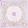 """Luxury Accessories:Accessories, Hermes 90cm Purple & Pink """"Amours"""", by Annie Faivre SilkMousseline Scarf. Very Good Condition. 36"""" Width x 36""""Length..."""