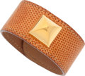 "Luxury Accessories:Accessories, Hermes Cognac Lizard Medor Bracelet with Gold Hardware .Excellent Condition . 1"" Width x 2.5"" Diameter .CITES ..."