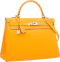 Luxury Accessories:Bags, Hermes Limited Edition Candy Collection 35cm Jaune d'Or &Potiron Epsom Leather Retourne Kelly Bag with PermabrassHardware...