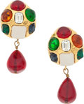 "Luxury Accessories:Accessories, Chanel Gold & Multicolor Gripoix Earrings . ExcellentCondition . 1.5"" Length. ..."