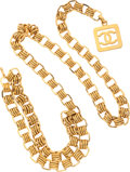 """Luxury Accessories:Accessories, Chanel Gold Square CC Belt . Very Good Condition . 36""""Length . ..."""