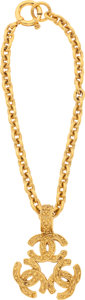 "Luxury Accessories:Accessories, Chanel Gold Chain Necklace with CC Trio. Very Good Condition. 8.5"" Length . ..."