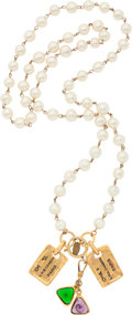 "Luxury Accessories:Accessories, Chanel Gold & Glass Pearl Necklace. Very Good Condition. 16"" Length . ..."