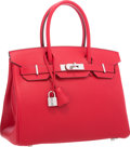 "Luxury Accessories:Bags, Hermes 30cm Rouge Casaque Epsom Leather Birkin Bag with Palladium Hardware. Excellent to Pristine Condition . 12"" Widt..."