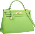 """Luxury Accessories:Bags, Hermes 32cm Vert Cru Gulliver Leather Retourne Kelly Bag with GoldHardware . Very Good Condition . 12.5"""" Width x 9""""H..."""