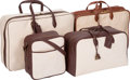 "Luxury Accessories:Travel/Trunks, Hermes Set of Four; Havane Clemence & Noisette Vache LiegeeLeather and Toile Luggage Set. Good Condition. 11"" Widthx... (Total: 4 Items)"