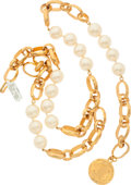 """Luxury Accessories:Accessories, Chanel Gold & Glass Pearl Medallion Belt. ExcellentCondition. 1"""" Width x 35"""" Adjustable Length. ..."""