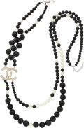 "Luxury Accessories:Accessories, Chanel Black & Glass Pearl Necklace with CC Logo . Very Good to Excellent Condition . 14"" Length . ..."