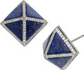 Estate Jewelry:Earrings, Lapis Lazuli, Diamond, White Gold Earrings, Eli Frei. ...