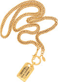 """Luxury Accessories:Accessories, Chanel Gold Chain & Tag Necklace . Excellent Condition .15"""" Length . ..."""