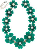 """Luxury Accessories:Accessories, Balenciaga Green Floral Silver & Glass Pearl Necklace.Excellent Condition. 1.5"""" Width x 16.5"""" Length. ..."""
