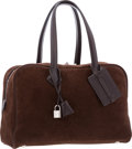 Luxury Accessories:Bags, Hermes 35cm Chocolate Veau Doblis Suede & Swift LeatherVictoria Bag with Palladium Hardware. Very Good to ExcellentCondi...