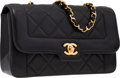 "Luxury Accessories:Bags, Chanel Black Lambskin Leather Small Flap Bag with Gold Hardware.Very Good Condition . 8.5"" Width x 5.5"" Height x 3""D..."