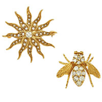 Diamond, Seed Pearl, Gold Brooches