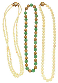 Coral, Nephrite, Gold Necklaces