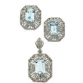 Estate Jewelry:Suites, Aquamarine, Diamond, White Gold Jewelry Suite. ... (Total: 2 Items)