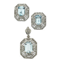 Aquamarine, Diamond, White Gold Jewelry Suite
