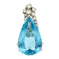 Estate Jewelry:Pendants and Lockets, Blue Topaz, Diamond, White Gold Pendant. ...