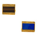 Estate Jewelry:Cufflinks, Lapis Lazuli, Tiger's-Eye Quartz, Gold Cuff Links. ...