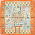 "Luxury Accessories:Accessories, Hermes 90cm Orange & Yellow ""Paridaiza,"" by Eugene BrunelleSilk Scarf. Excellent Condition. 36"" Width x 36""Length..."