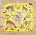 "Luxury Accessories:Accessories, Hermes 90cm Yellow & Brown ""Tendresse Feline,"" by Robert DalletSilk Scarf. Excellent Condition. 36"" Width x 36""Lengt..."