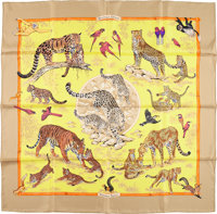 """Hermes 90cm Yellow & Brown """"Tendresse Feline,"""" by Robert Dallet Silk Scarf Excellent Condition 36"""" Wi..."""