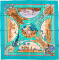 "Luxury Accessories:Accessories, Hermes 90cm Blue & Yellow ""Chasses Exotiques,"" by PhilippeLedoux Silk Scarf. Very Good Condition. 36"" Width x 36""Len..."