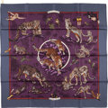 "Luxury Accessories:Accessories, Hermes 90cm Purple & Blue ""Tendresse Feline,"" by Robert DalletSilk Scarf. Excellent Condition. 36"" Width x 36"" Length. ..."