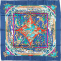"Luxury Accessories:Accessories, Hermes 90cm Blue & Red ""Tropiques,"" by Laurence BourthoumieuxSilk Scarf. Excellent Condition. 36"" Width x 36"" Length. ..."