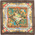"Luxury Accessories:Accessories, Hermes 90cm Brown & Green ""Tropiques,"" by LaurenceBourthoumieux Silk Scarf . Very Good Condition . 36""Width x 36"" Le..."