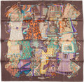 "Luxury Accessories:Accessories, Hermes 90cm Purple & Brown ""Voyage en Etoffes,"" by Annie FaivreSilk Scarf . Excellent to Pristine Condition . 36"" Widthx..."