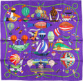 "Luxury Accessories:Accessories, Hermes 90cm Purple & Red ""Les Folies du Ciel,"" by Loic DubigeonSilk Scarf . Excellent to Pristine Condition . 36"" Widthx..."
