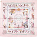 "Luxury Accessories:Accessories, Hermes 90cm Pink & Cream""La Vie du Grand Nord,"" by Aline Honore Silk Scarf . Excellent to Pristine Condition . 36"" Width x..."