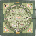 "Luxury Accessories:Accessories, Hermes 90cm Green & Beige ""Le Poitevin,"" by Hubert de WatrigantSilk Scarf . Very Good Condition . 36"" Width x 36""Len..."