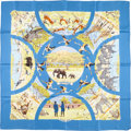 "Luxury Accessories:Accessories, Hermes 90cm Blue & Yellow ""Tanzanie,"" by Robert Dallet SilkScarf . Very Good Condition . 36"" Width x 36"" Length. ..."