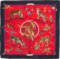 """Luxury Accessories:Accessories, Hermes 140cm Red & Black """"Tendresse Feline,"""" by Robert DalletSilk and Cashmere Scarf. Excellent to Pristine Condition...."""