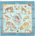 "Luxury Accessories:Accessories, Hermes 90cm Blue & Yellow ""Tendresse Feline,"" by Robert Dallet Silk Scarf. Excellent Condition. 36"" Width x 36"" Length..."