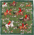"Luxury Accessories:Accessories, Hermes 90cm Green & Red ""La Poursuite,"" by Jean-Louis ClercSilk Scarf. Good to Very Good Condition. 36"" Width x 36""L..."