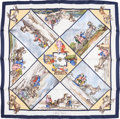 "Luxury Accessories:Accessories, Hermes 90cm Blue & White ""Voyages en Russie,"" by Loïc DubigeonSilk Scarf . Excellent Condition. 36"" Width x 36""Lengt..."