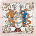 """Luxury Accessories:Accessories, Hermes 90cm Beige & White """"Napoleon,"""" by Philippe Ledoux SilkScarf. Excellent to Pristine Condition . 36"""" Width x36""""..."""