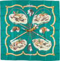 "Luxury Accessories:Accessories, Hermes 90cm Teal & Brown ""La Laisser Courre,"" by Jean deFougerolle Silk Scarf. Very Good Condition. 36"" Width x36"" L..."
