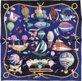 "Luxury Accessories:Accessories, Hermes 90cm Black & Blue ""Les Folies du Ciel,"" by Loïc DubigeonSilk Scarf. Excellent Condition. 36"" Width x 36""Lengt..."