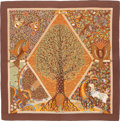 "Luxury Accessories:Accessories, Hermes 140cm Brown & Beige ""Axis Mundi,"" by Christine HenrySilk and Cashmere Scarf. Excellent to Pristine Condition...."