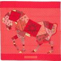 "Luxury Accessories:Accessories, Hermes 140cm Pink & Red ""A Cheval sur mon Carre,"" by BaliBarret Silk and Cashmere Scarf. Excellent to PristineCondition..."