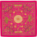 """Luxury Accessories:Accessories, Hermes 140cm Purple & Green """"Carre Kantha,"""" Silk and Cashmere Scarf. Excellent to Pristine Condition. 55"""" Width x 55"""" ..."""
